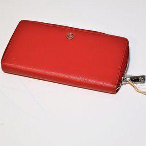 New Valentina Red Leather Zip Around Wallet clutch